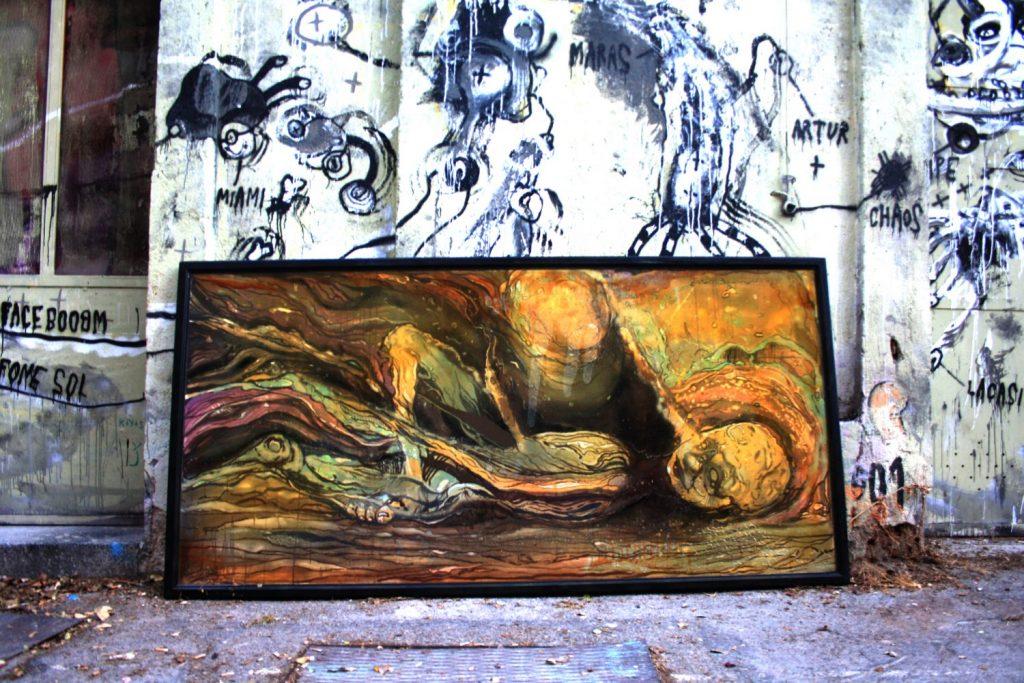 Awaking soul.Acrilic and synthetic on wood.2,40x1,20cm. 1800 euros